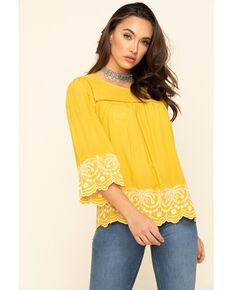 Red Label by Panhandle Women's Mustard Embroidered Scallop Top, Mustard, hi-res