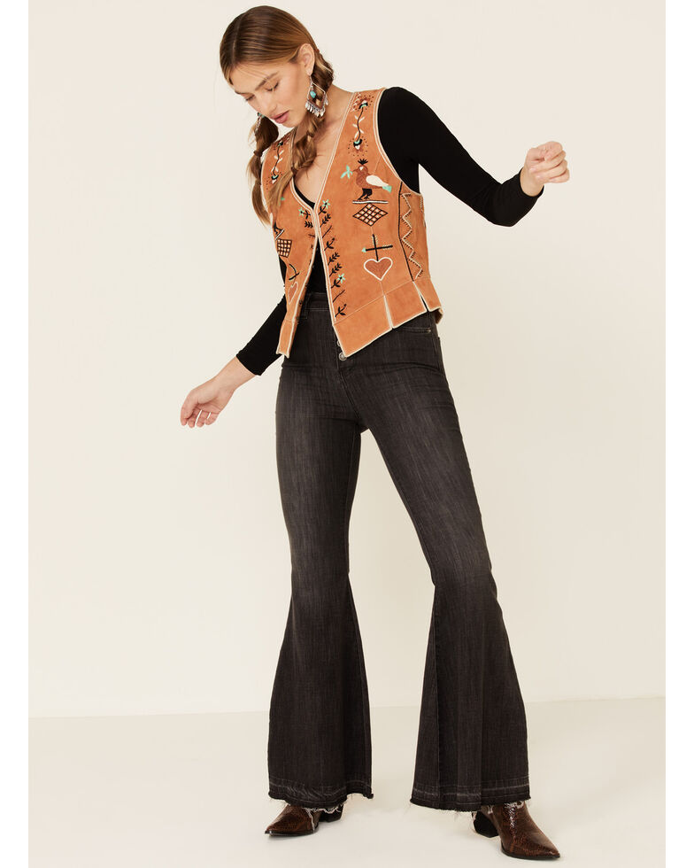 Double D Ranch Women's Tan Lil Chiquita Bird Suede Vest , Tan, hi-res