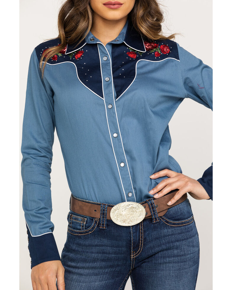 Rough Stock by Panhandle Women's Dark Blue Rose Embroidered Long Sleeve Rodeo Shirt , Blue, hi-res
