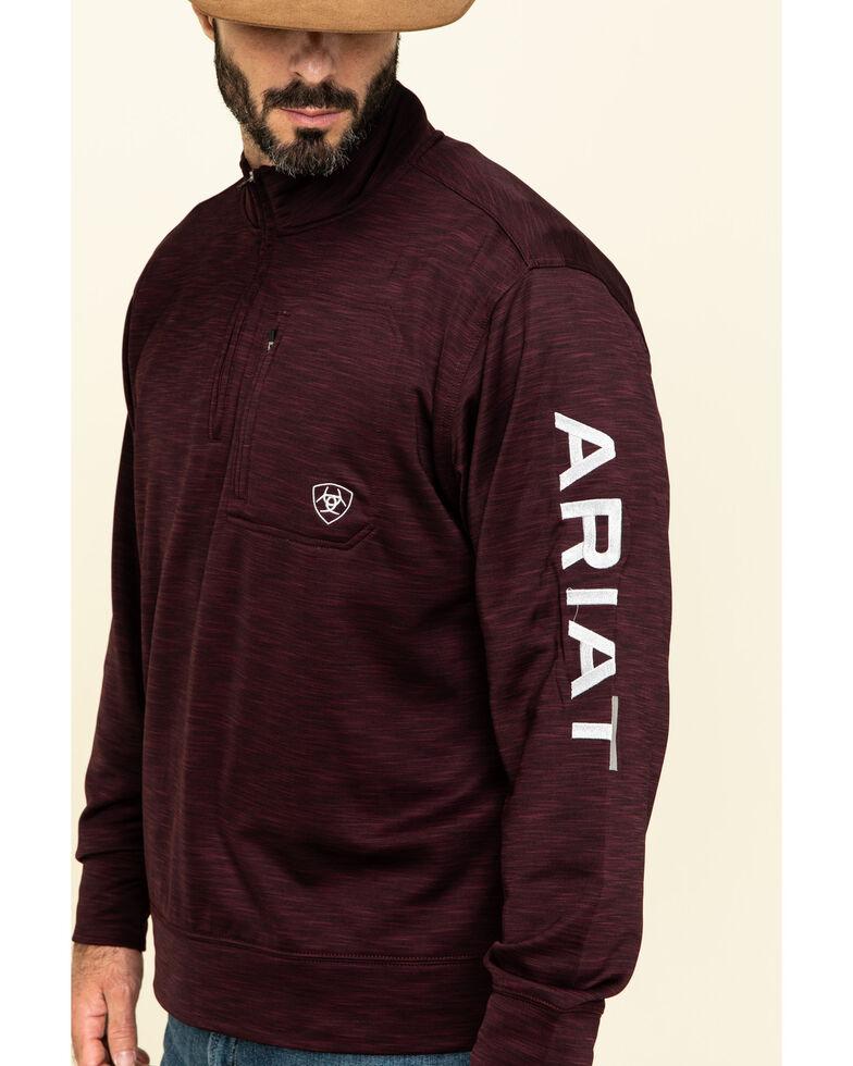 Ariat Men's Burgundy Team Logo 1/4 Zip Pullover Sweatshirt , Burgundy, hi-res