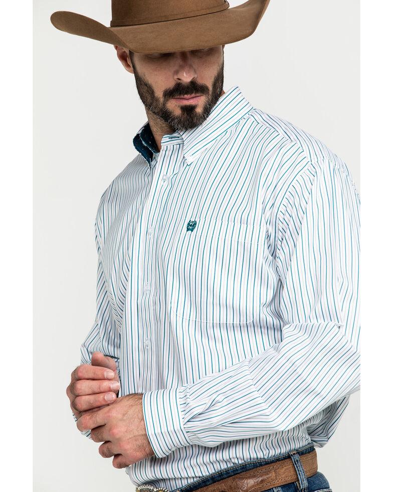 Cinch Men's Tencel White Stripe Long Sleeve Western Shirt , White, hi-res