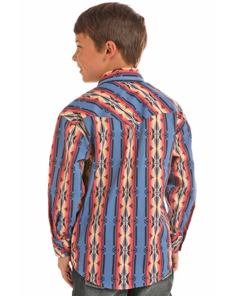 Rock & Roll Cowboy Boys' Poplin Aztec Print Snap Long Sleeve Western Shirt , Multi, hi-res