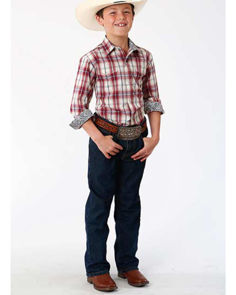 Amarillo Boys' Vintage Red Plaid Button Long Sleeve Western Shirt , Red, hi-res
