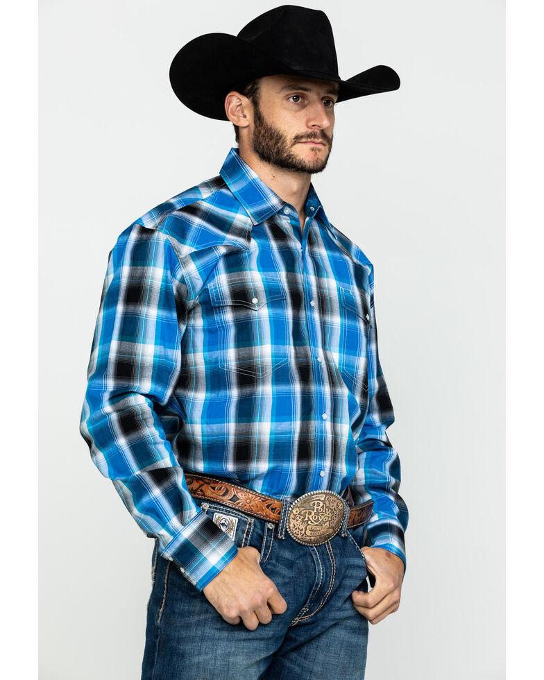 Roper Men's Amarillo Blue Star Plaid Long Sleeve Western Shirt , Blue, hi-res