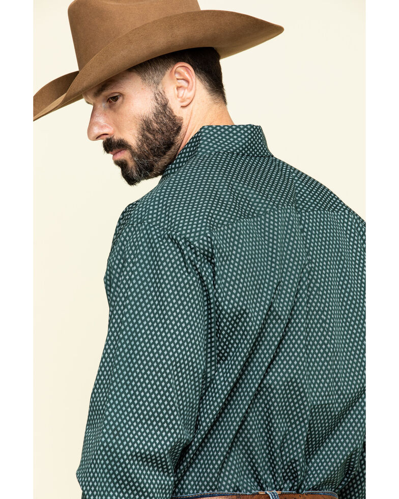 Cinch Men's Forest Green Diamond Geo Print Long Sleeve Western Shirt - Big , Green, hi-res