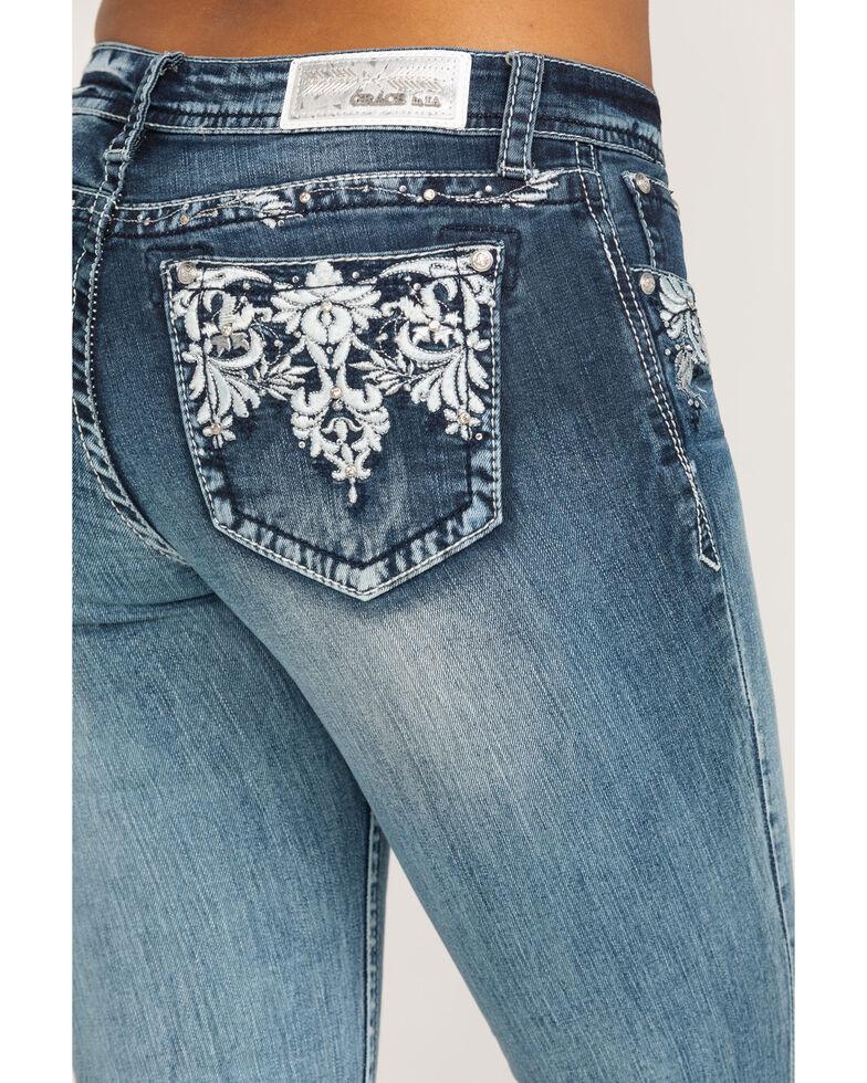 Grace in LA Women's Aztec Embellished Bootcut Jeans, Blue, hi-res