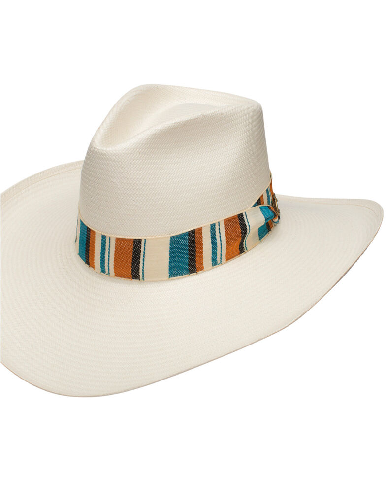 Stetson Women's Baby Don't Go Shantung Straw Hat, Tan/turquoise, hi-res