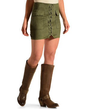 Ivory Love Women's Olive Faux Suede Lace Up Mini Skirt, Olive, hi-res