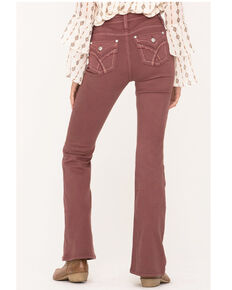 Miss Me Women's Dusty Pink High Rise Flare Jeans  , Pink, hi-res