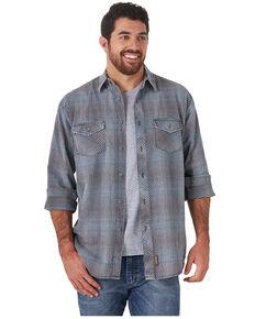 Wrangler Retro Premium Men's Blue Check Plaid Button-Down Western Shirt - Tall, Blue, hi-res