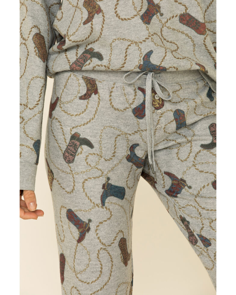 PJ Salvage Women's Boots Print Lounge Pants, Heather Grey, hi-res
