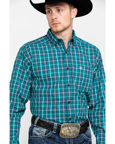 Ariat Men's Rooks Med Plaid Long Sleeve Western Shirt , Turquoise, hi-res