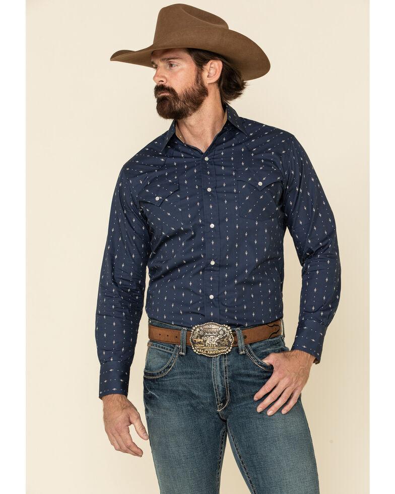 Ely Walker Men's Navy Aztec Geo Print Long Sleeve Western Shirt - Tall , Navy, hi-res