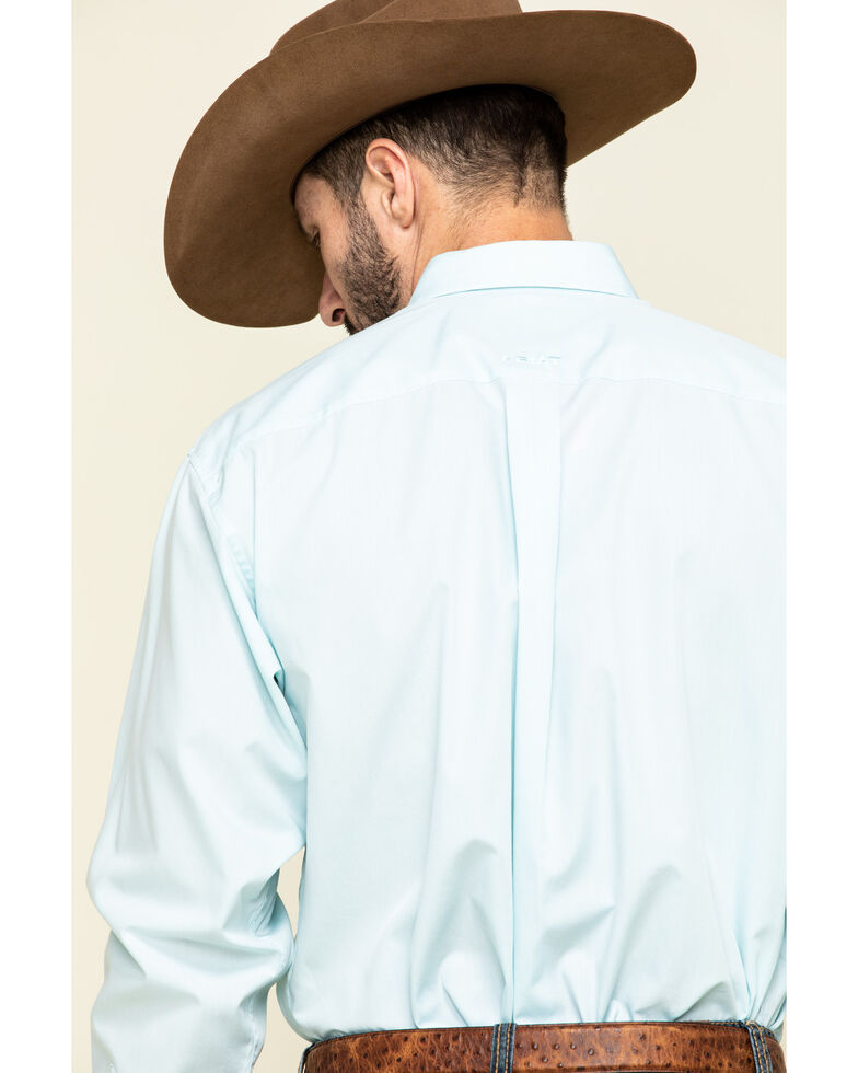 Ariat Men's Wrinkle Free Aqua Pinpoint Oxford Solid Long Sleeve Western Shirt , Blue, hi-res