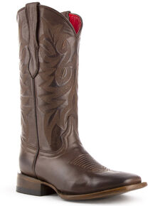 Ferrini Women's Flores Embroidered Western Boots - Square Toe, Chocolate, hi-res
