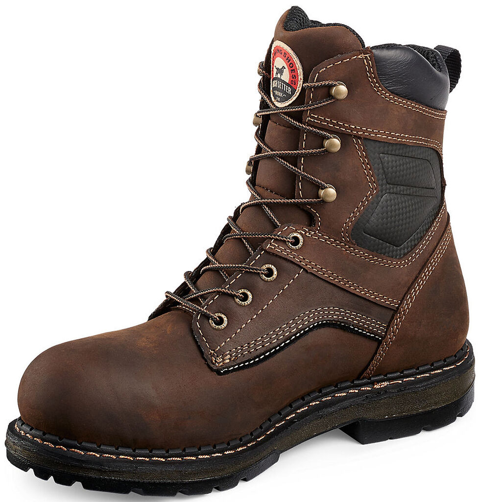 """Irish Setter by Red Wing Shoes Men's Ramsey EH Waterproof 8"""" Work Boots -  Soft Round Toe , Brown, hi-res"""