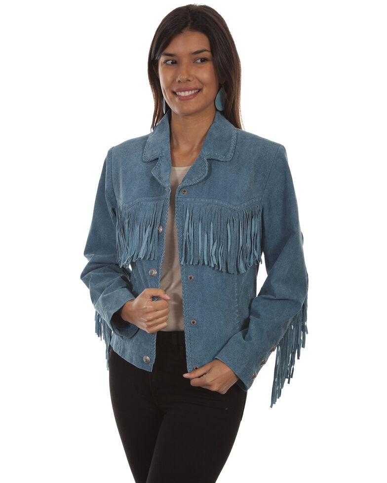 Scully Women's Suede Snap Fringe Jacket , Blue, hi-res