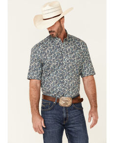 Roper Men's Blue Plaza Paisley Print Short Sleeve Button-Down Western Shirt , Blue, hi-res