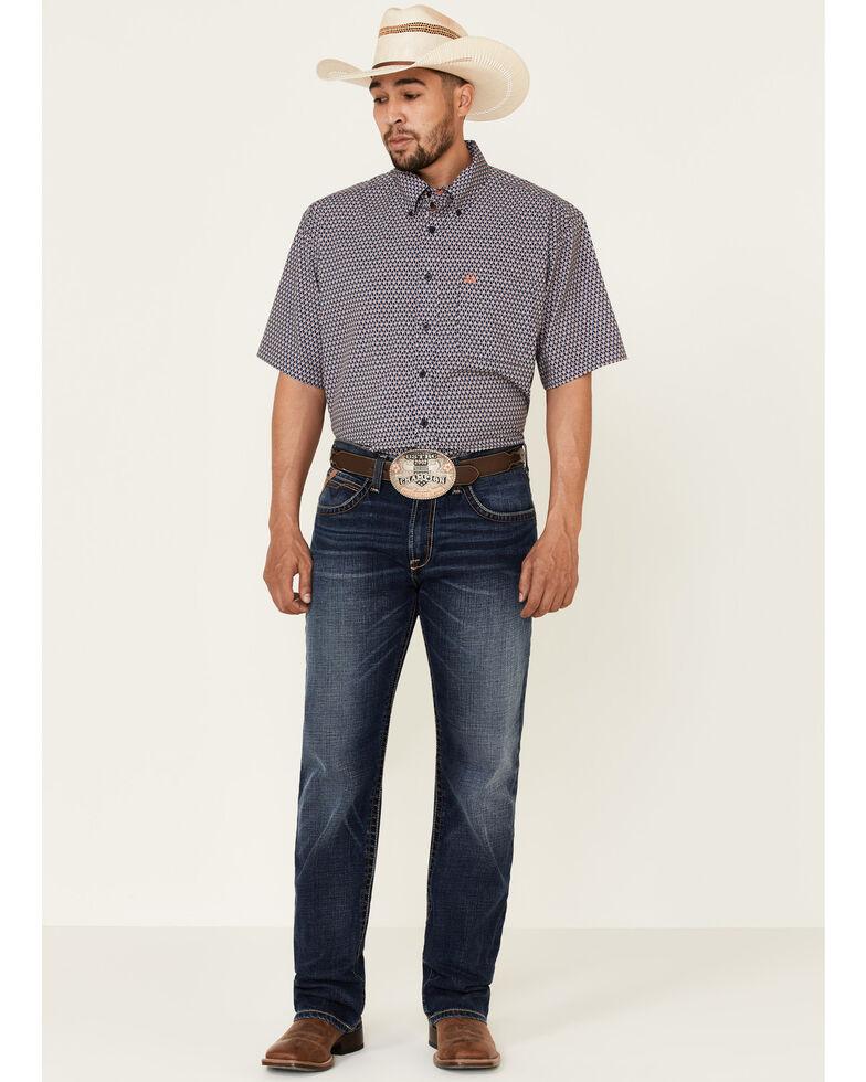 Cinch Men's ArenaFlex Blue Navy Geo Print Short Sleeve Western Shirt , Navy, hi-res