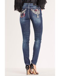 Miss Me Women's Winged Cross Mid-Rise Skinny Jeans , Blue, hi-res