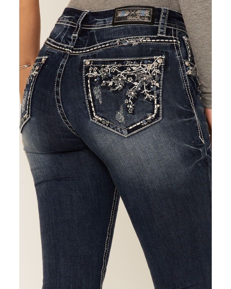 Grace in LA Women's Medium Wash Floral Blossoms Mid Rise Bootcut Jeans , Blue, hi-res