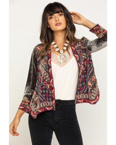 Johnny Was Women's Ravi Velvet Bolero Jacket, Grey, hi-res