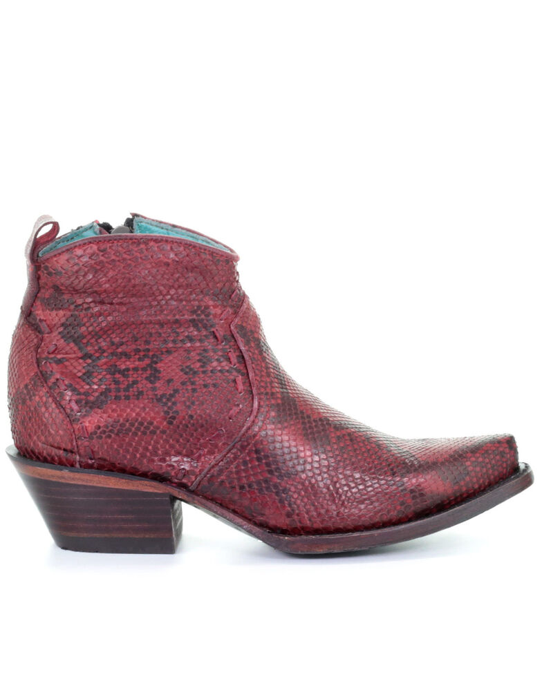 Corral Women's Red Python Fashion Booties - Snip Toe, Blue, hi-res
