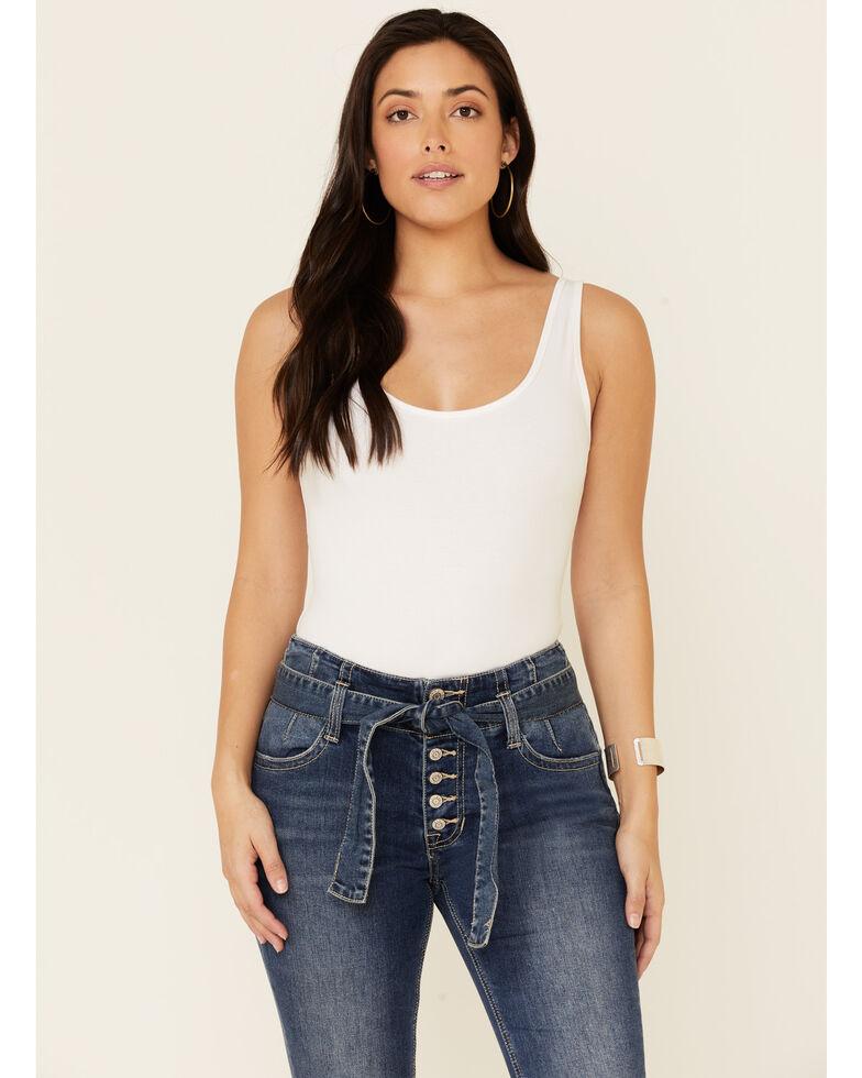 Rock & Roll Denim Women's Self Belt Flare Leg Jeans, Blue, hi-res