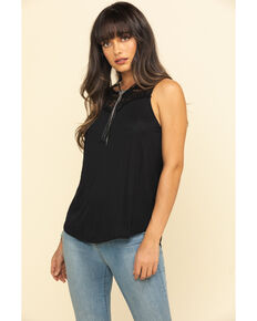 Red Label by Panhandle Women's Black Lace Inset Tank Top , Black, hi-res