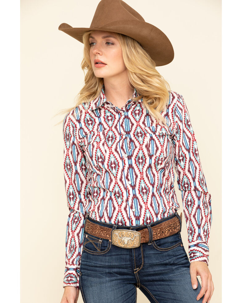 Rock & Roll Denim Women's Snap Aztec Long Sleeve Western Shirt , Multi, hi-res