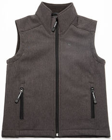 Roper Boys' Grey Soft-Shell Fleece Zip Up Vest , Grey, hi-res