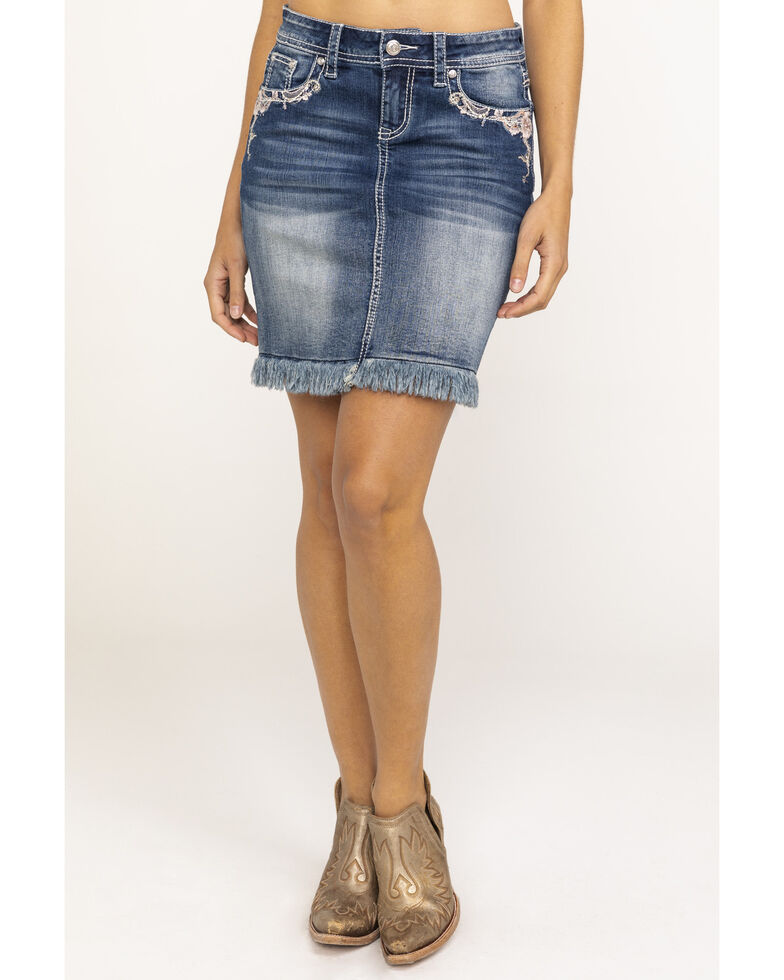 Grace in LA Women's Floral Embroidered Frayed Denim Skirt , Blue, hi-res