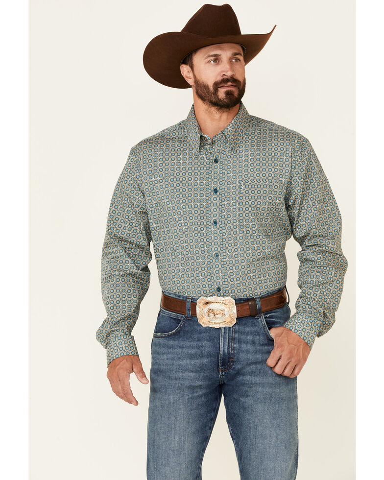 Cinch Men's Modern Fit Multi Small Geo Print Long Sleeve Button-Down Western Shirt , Multi, hi-res