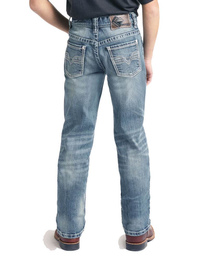 Rock & Roll Cowboy Boys' Small V Bean Stitch Revolver Straight Jeans , Blue, hi-res