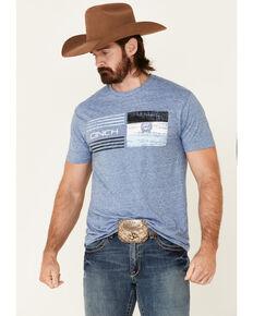 Cinch Men's Blue Bar Stripe Graphic Short Sleeve T-Shirt, Blue, hi-res