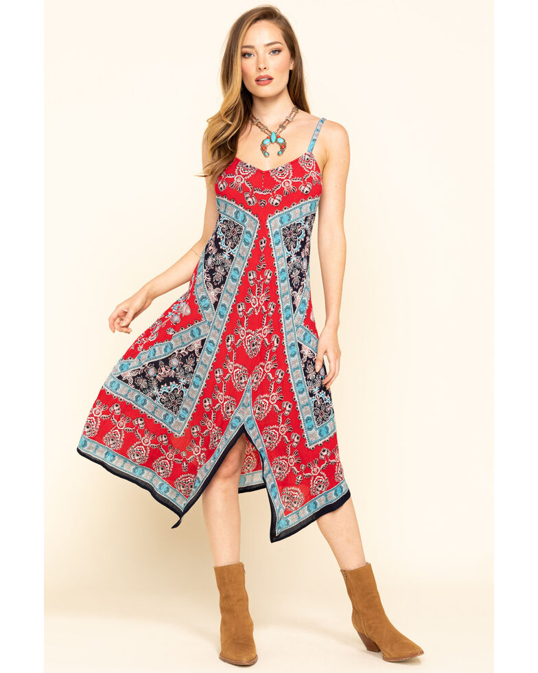 Bila Women's Border Print Hanky Hem Slip Dress, Red/white/blue, hi-res
