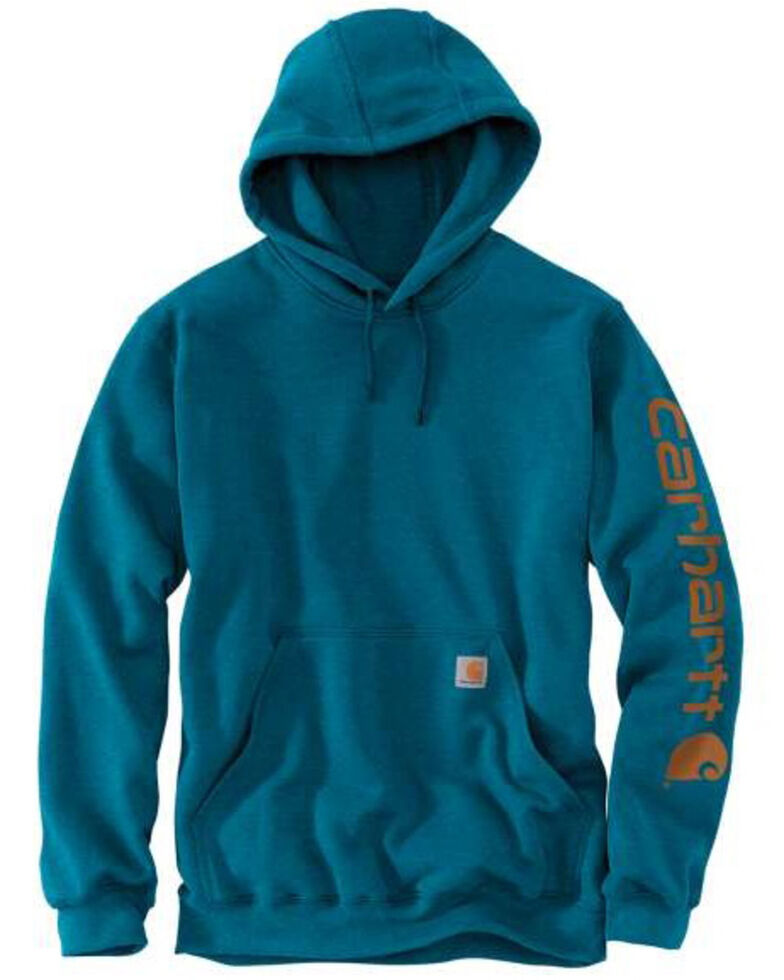 Carhartt Men's Ocean Blue Midweight Signature Sleeve Hooded Work Sweatshirt , Heather Blue, hi-res