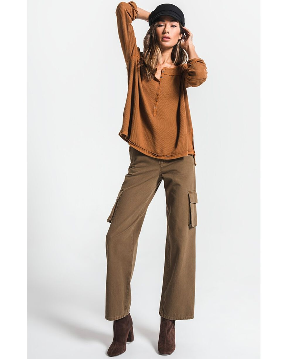 White Crow Women's Ribbed Snap Front Long Sleeve Top , Brown, hi-res