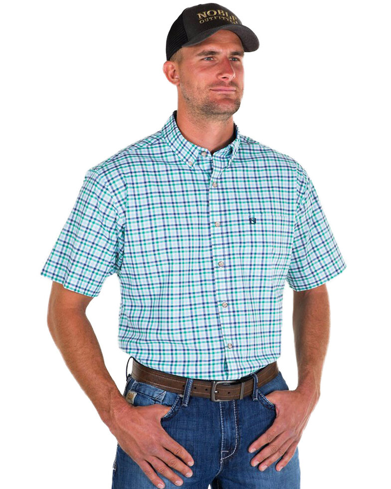 Noble Outfitters Men's Blue Generation Oxford Check Short Sleeve Western Shirt , Blue, hi-res