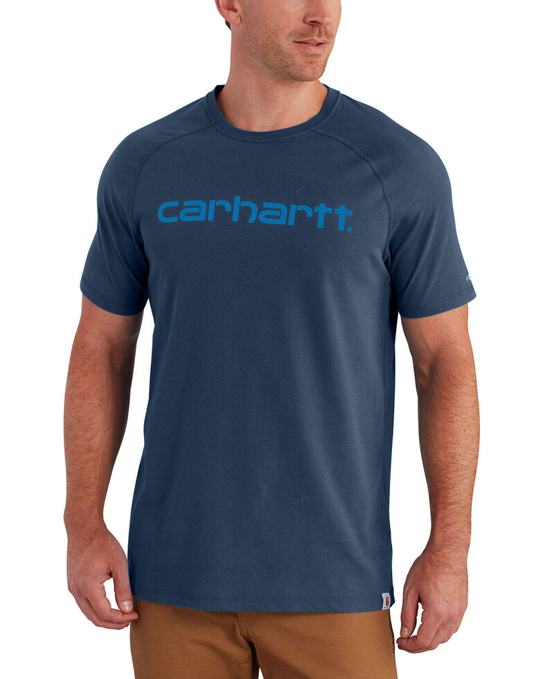 Carhartt Force Men's Cotton Delmont Graphic Short Sleeve Shirt, Medium Blue, hi-res
