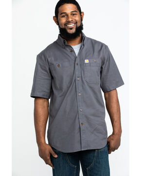 Carhartt Men's Rugged Flex Rigby Short Sleeve Work Shirt , Charcoal, hi-res