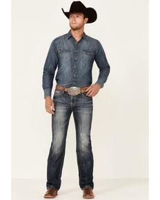 Rock & Roll Denim Men's Dark Vintage Pistol Classic Straight Jeans , Blue, hi-res