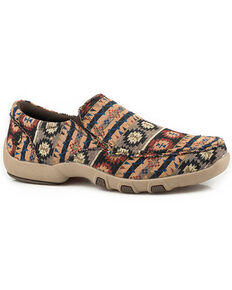 Roper men's Badge Aztec Slip-On Shoes - Moc Toe, Brown, hi-res