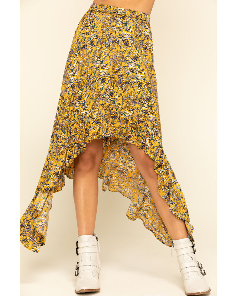 Rock & Roll Denim Women's Mustard Floral Hanky Skirt , Dark Yellow, hi-res