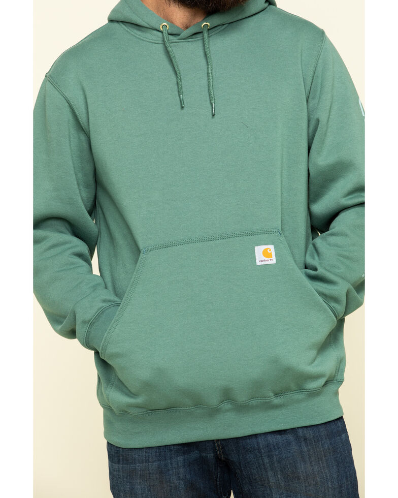 Carhartt Men's Olive Midweight Signature Sleeve Logo Hooded Work Sweatshirt - Big , Olive, hi-res
