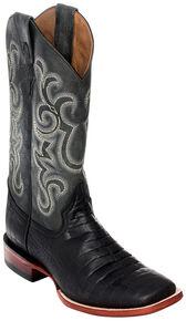 Ferrini Men's Black Caiman Belly Print Western Boots - Square Toe , Black, hi-res