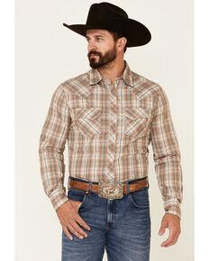 Wrangler Men's Tan Plaid Long Sleeve Fashion Snap Western Shirt , Tan, hi-res