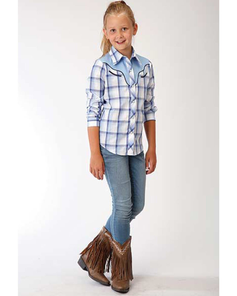 Karman Girls' Horse Plaid Long Sleeve Western Shirt , Blue, hi-res