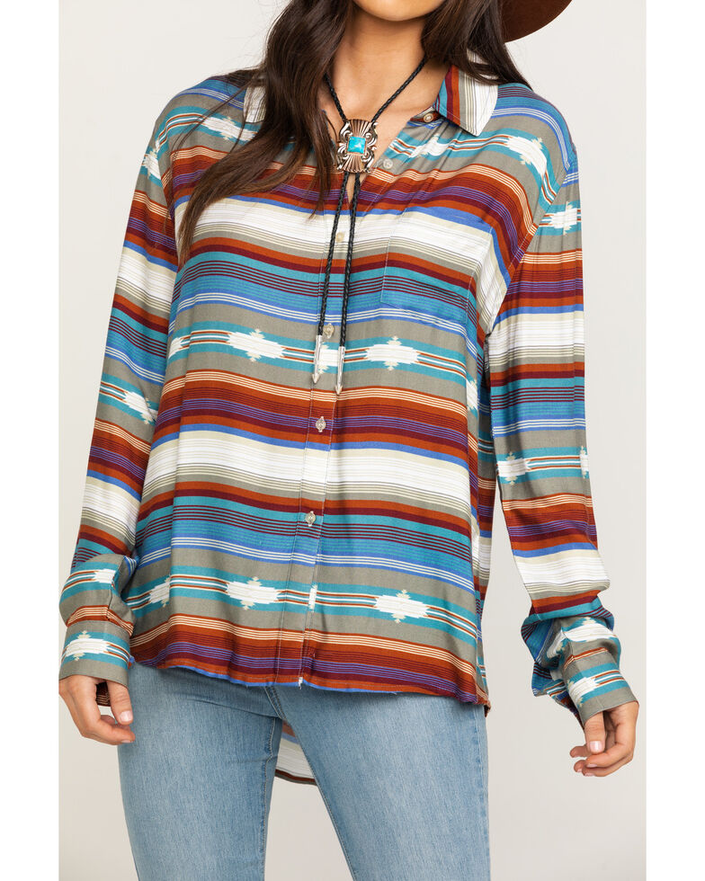Stetson Women's Serape Print Button Long Sleeve Shirt , Multi, hi-res