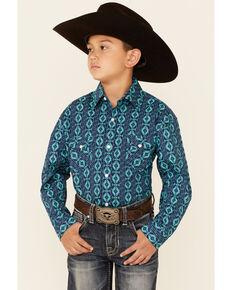 Rough Stock By Panhandle Boys' Navy Aztec Stripe Long Sleeve Snap Western Shirt , Navy, hi-res